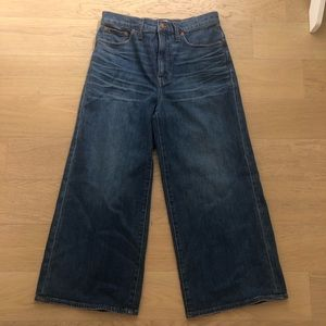 Women's Madewell Dark Denim Wide-Leg Crop Pants